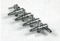 3 x Luftventil/Luftverteiler 4-fach aus Metall für Schlauch 4/6m